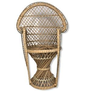 Vintage Peacock Chair Doll Plant Stand Boho Rattan